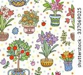 seamless pattern doodle plants... | Shutterstock .eps vector #337069025