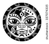 sacred geometry   tiki mask... | Shutterstock .eps vector #337074335