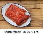 raw marinated pork with smoked... | Shutterstock . vector #337078175