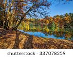 Stock photo colorful leaves on trees along lake in autumn hdr image 337078259