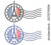 grunge stamp with eiffel tower  ... | Shutterstock .eps vector #337079504