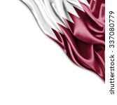 qatar   flag of silk with... | Shutterstock . vector #337080779