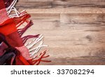 checkered plaid on wooden... | Shutterstock . vector #337082294