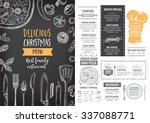 vector christmas restaurant... | Shutterstock .eps vector #337088771