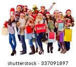 women in santa hat holding sign ... | Shutterstock . vector #337091897