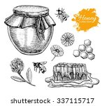 vector honey set. vintage hand... | Shutterstock .eps vector #337115717