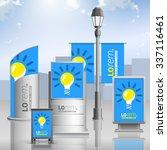 blue outdoor advertising design ... | Shutterstock .eps vector #337116461