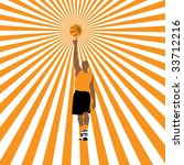 basketball player on striped... | Shutterstock .eps vector #33712216
