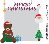 christmas card bear in the tree ... | Shutterstock .eps vector #337123745