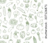 seamless hand drawn vegetable ... | Shutterstock .eps vector #337126871