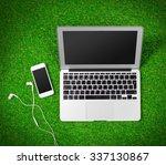 man's hands using tech device... | Shutterstock . vector #337130867