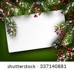christmas card with fir... | Shutterstock .eps vector #337140881