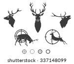 Set Of Graphic Design Deer Hea...