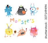 cute cartoon monsters set.... | Shutterstock .eps vector #337149494