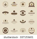 coffee shop logos  badges and... | Shutterstock .eps vector #337153601