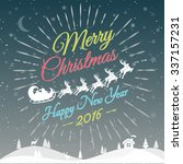merry christmas card with santa.... | Shutterstock .eps vector #337157231