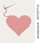 embroidered heart with a needle ... | Shutterstock .eps vector #337157711