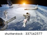 astronauts  space shuttle and... | Shutterstock . vector #337162577