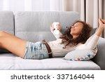 beautiful girl emotionally... | Shutterstock . vector #337164044