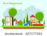 kids playground flat concept... | Shutterstock .eps vector #337177331