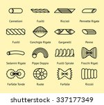 different pasta types line... | Shutterstock .eps vector #337177349