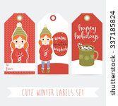 set of three winter labels with ... | Shutterstock .eps vector #337185824
