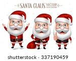3d realistic set of santa claus ... | Shutterstock .eps vector #337190459