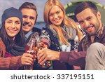 cheers to friends  four young... | Shutterstock . vector #337195151