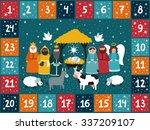 christmas advent calendar with...   Shutterstock .eps vector #337209107