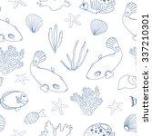 marine seamless pattern. vector ... | Shutterstock .eps vector #337210301
