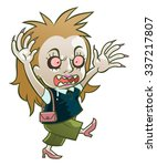 cartoon funny zombie woman on... | Shutterstock .eps vector #337217807