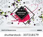 3D abstract background with paint stain and geometric rhombus shapes. Vector design layout for business presentations, flyers, posters. Scientific future technology background. Geometry polygon. | Shutterstock vector #337218179