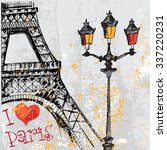 paris grunge background with... | Shutterstock .eps vector #337220231