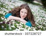 beautiful woman lying down in... | Shutterstock . vector #337228727