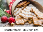 Christmas Cookie On A Wooden...