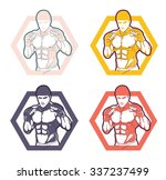 fighter 2 logos  emblems ... | Shutterstock .eps vector #337237499