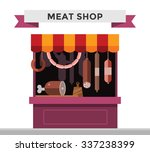 Meat Shop Stall With Meats...