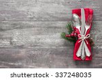 christmas table place setting.... | Shutterstock . vector #337248035