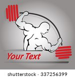fitness man with barbell in gym.... | Shutterstock .eps vector #337256399