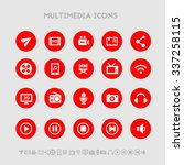 multimedia flat design icons ...
