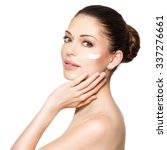 young woman with cosmetic ... | Shutterstock . vector #337276661