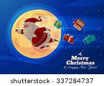 funny supersanta with presents... | Shutterstock .eps vector #337284737