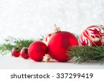 Red Xmas Ornaments And Xmas...