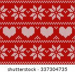 red knitted stars sweater in... | Shutterstock .eps vector #337304735