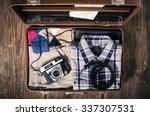 vintage travel suitcase on... | Shutterstock . vector #337307531
