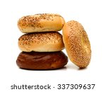 assorted bagels on white... | Shutterstock . vector #337309637