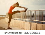 women warm up before a morning... | Shutterstock . vector #337320611