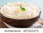 mashed potatoes in a big wooden ... | Shutterstock . vector #337321571
