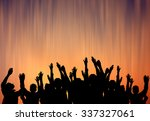 crowd hands up  | Shutterstock . vector #337327061