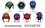 set of funny round bacteria... | Shutterstock .eps vector #337328729